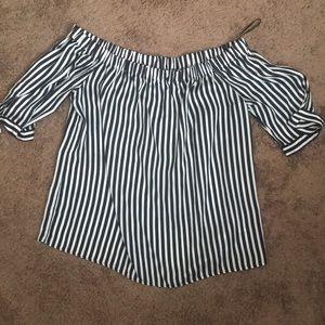 H&M off shoulder stripe top